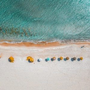 Arial view of beach with Beach umbrellas