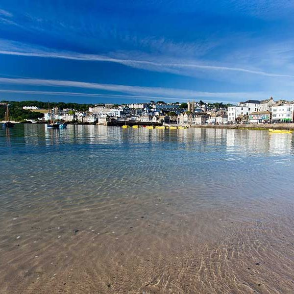 Looking over the clear water at St Ives Harbour